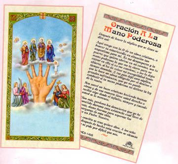 <p>Submit yourself to the power of prayer through our Oracion a la Mano Poderosa. The Mano Poderosa or the Powerful Hand believes to provide magical protection and benediction to the wearer or the devotee. Many Catholic faithful believe that the Powerful Hand helps recall the order of confession and prayer. <br><br></p><p>The image of the Mano Poderosa varies across countries. It often includes different Catholic saints atop the fingers, but often times the four fingers represent the Blessed…