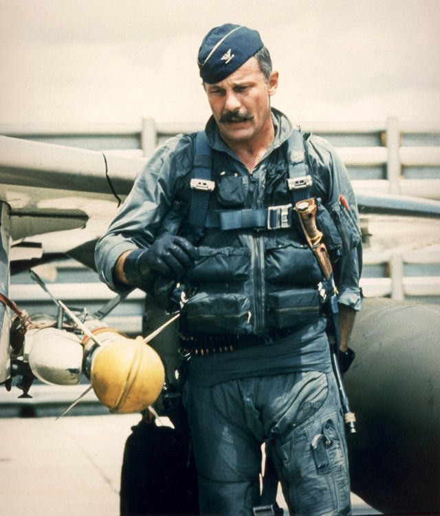 """Robin Olds- triple-ace, with 16 aerial victories in WWII (splashing three German aircraft in a single day) and Vietnam, the retired Air Force brigadier general, might report his present condition as """"one turnin' and one burnin'.""""  General Olds' decorations include the Air Force Cross, four Silver Stars and the six Distinguished Flying Crosses, and 40 Air Medals"""
