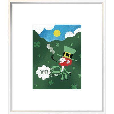 "East Urban Home 'Leprechaun Fart I' Graphic Art Print Format: Collins White Framed, Matte Color: Bright White, Size: 27.6"" H x 23.6"" W"
