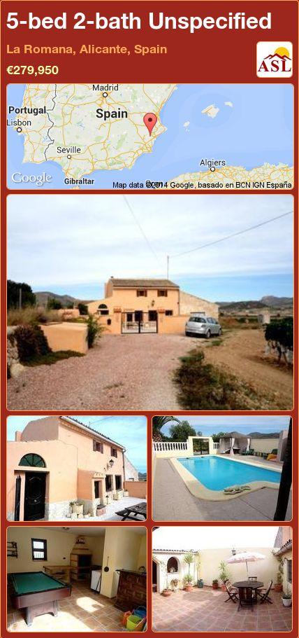 5-bed 2-bath Unspecified in La Romana, Alicante, Spain ►€279,950 #PropertyForSaleInSpain