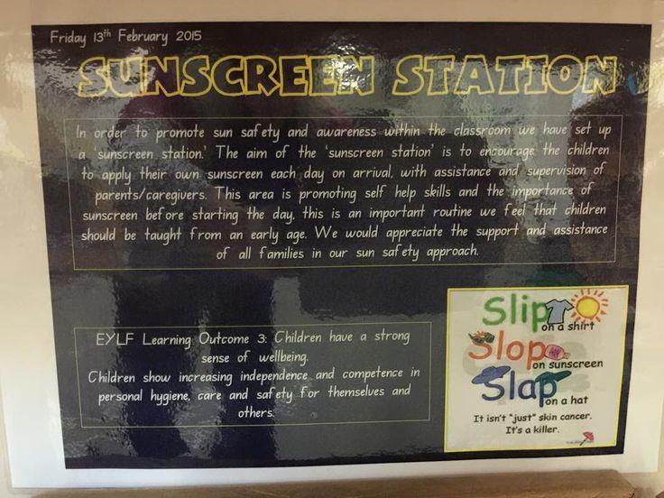 Sunscreen station sign