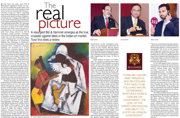 THE REAL PICTURE: A resurgent Bid & Hammer emerges as the true crusader against fakes in the Indian art market. Team Viva does a review 8th July 2016