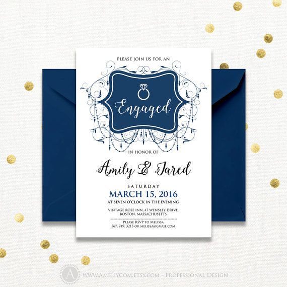 Engagement Invitation Printable Navy Blue Engaged by AmeliyCom https://www.etsy.com/listing/271043322/engagement-invitation-printable-navy