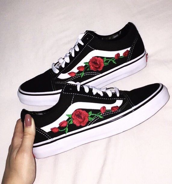 shoes, vans, floral vans, roses vans, rose vans, roses shoes ...