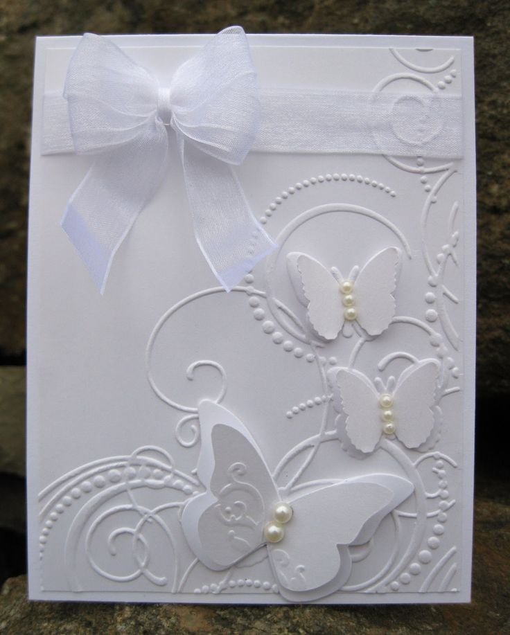 handmade wedding cards ireland%0A Inkee Paws  White on White card  So classy elegant  Could be used