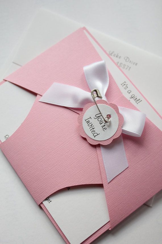 Baby Diaper Shower Invitation Light Pink Baby by CraftedbyLizC