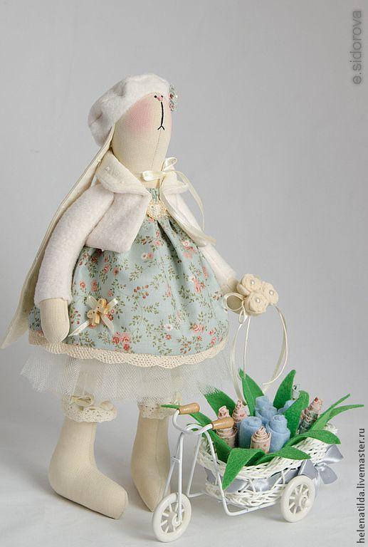 Зайка Polly (повтор) - голубой,коремовый,розовый,зайка,тильда заяц,кукла Тильда