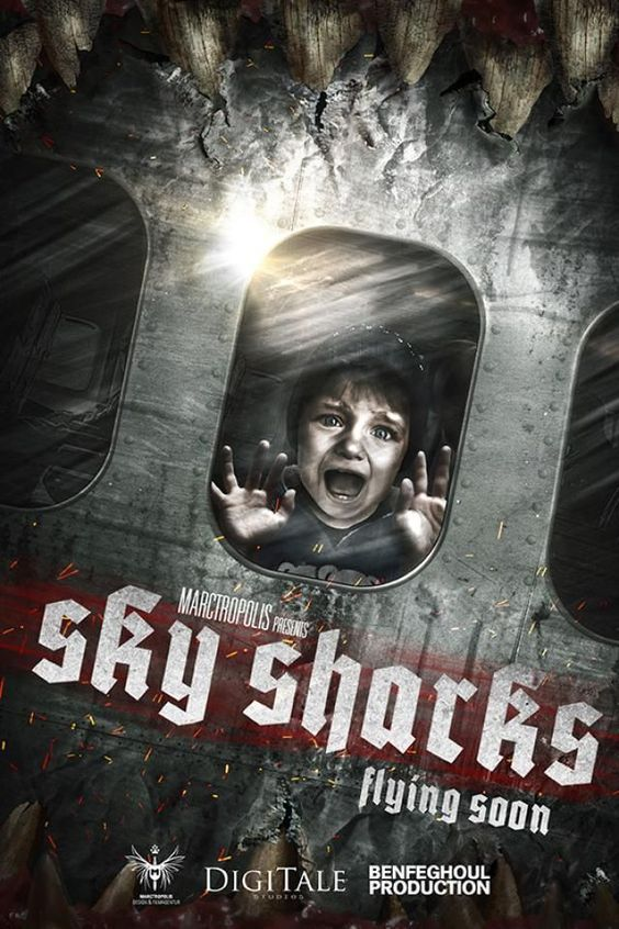 """SKY SHARKS (Movie 2017) Horror/Comedy -  StarringTony Todd,Dave Sheridan,J. LaRose,Robert LaSardo Directed byMarc Fehse. - """"Deep in the ice of the antarctic, a team of geologists uncover an old N*zi laboratory still intact where dark experiments had occured..."""" - In theaters September 1, 2017."""