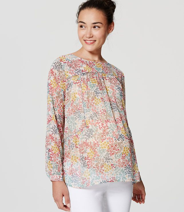 LOFT Maternity Wildflower Piped Blouse