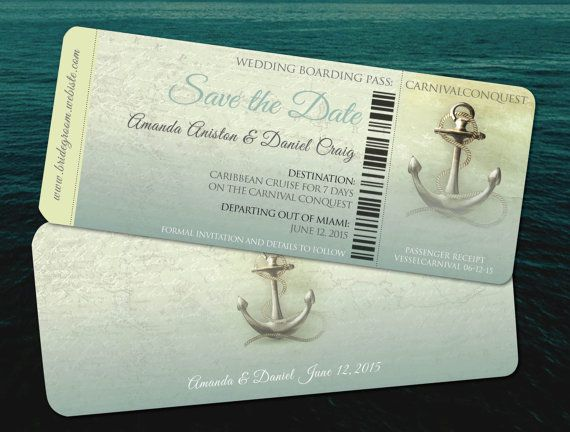 Save the Date Destination Cruise Wedding // Aqua Teal Travel  Wedding // Vintage Retro Anchors Away