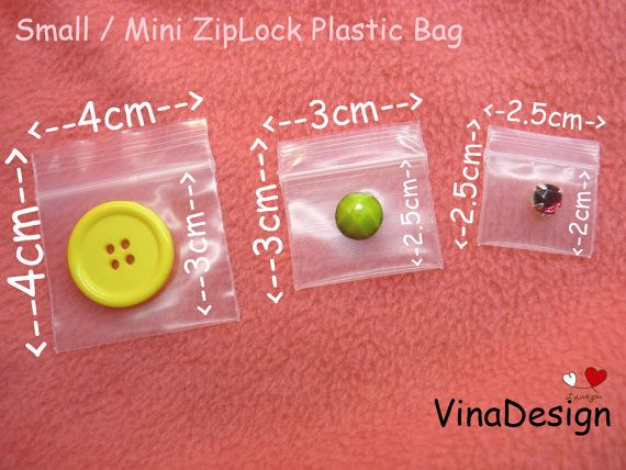 4cm x 4cm Small Plastic ZipLock Bag Thick Plastic by VinaDesign