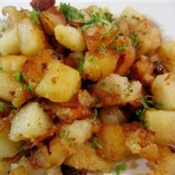Butter Fried Potatoes. I made this all in one pot, simply by adding the garlic and onions after the potatoes were almost done.  I also added red pepper flakes at the beginning.