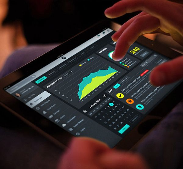 Super Tablet Dashboard UI by Bouncy Studio, via Behance --- dashboard gives an idea of representations of graphs, charts, calendars, etc.