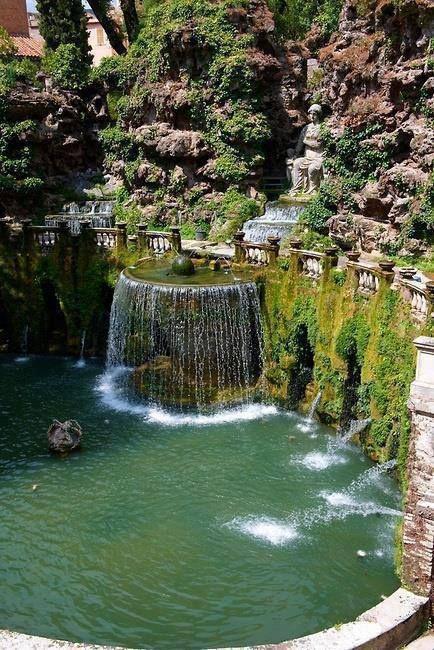 Elaborate fountain in the gardens of Villa d'Este. Tivoli, Lazio, Italy