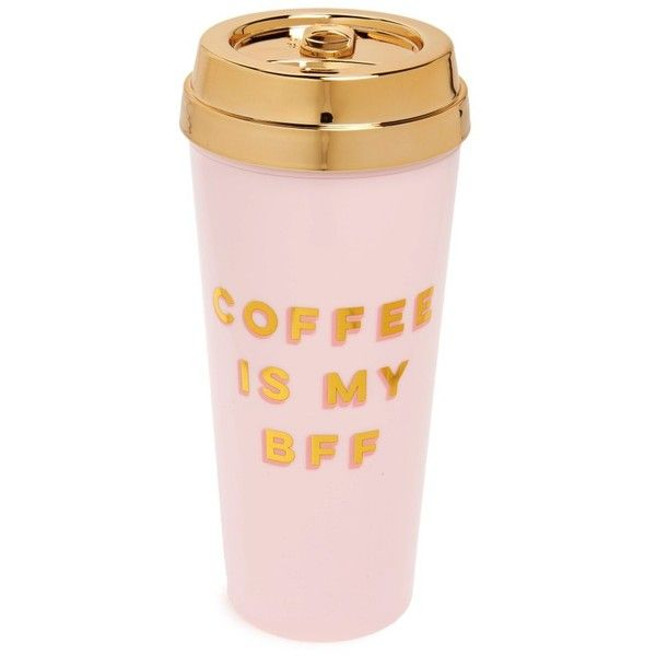 Women's Ban.do Bff Deluxe Thermal Travel Mug (56 BRL) ❤ liked on Polyvore featuring home, kitchen & dining, drinkware, filler, pink, thermal travel mug, pink mug, thermal mug, thermo travel mug and hot coffee mug
