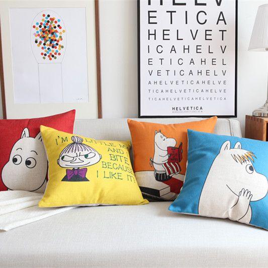 Japanese Cartoon Moonin Pillowcase Creative Cotton Linen Cushion Decorative Pillow Cushions Home Decor Throw Pillow Almofadas