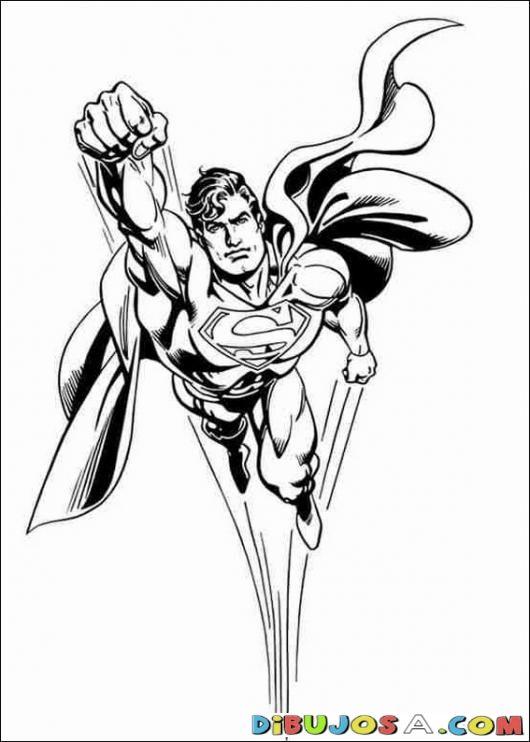 Superman Volando de Frente | COLOREAR SUPERMAN | Dibujo para pintar a Superman volando de frente | dibujosa.com