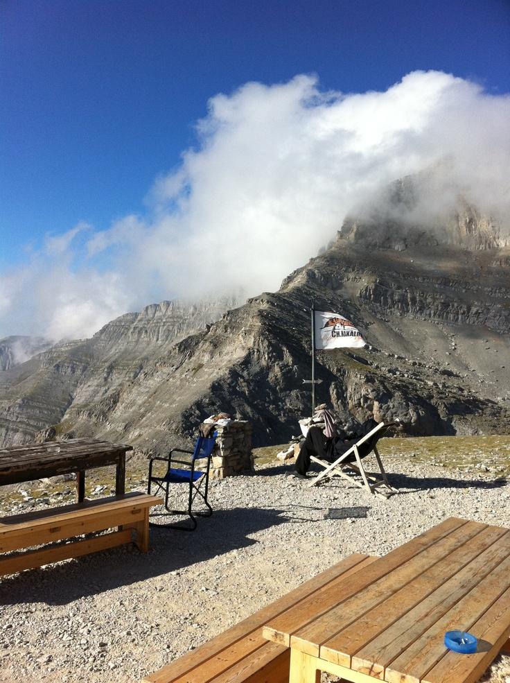 Mount Olympus. Relaxation at Kakalos refuge (2648m).