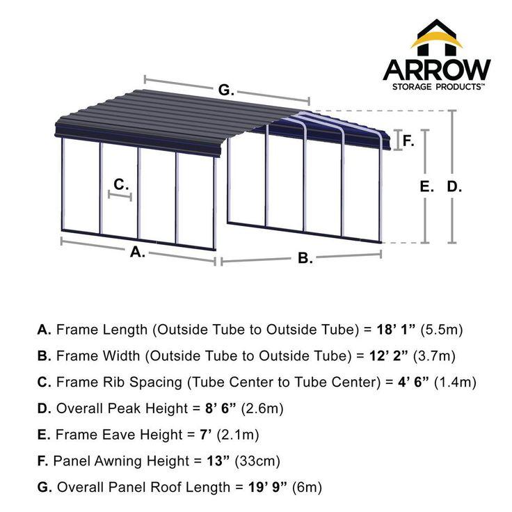 Arrow 12 ft. W x 20 ft. D Eggshell Galvanized Steel