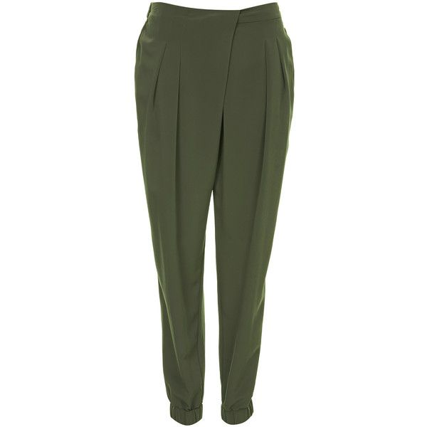 TOPSHOP Wrap Front Jogger Trousers (£30) ❤ liked on Polyvore featuring pants, trousers, khaki, green pants, topshop, khaki jogger pants, green khaki pants and topshop pants