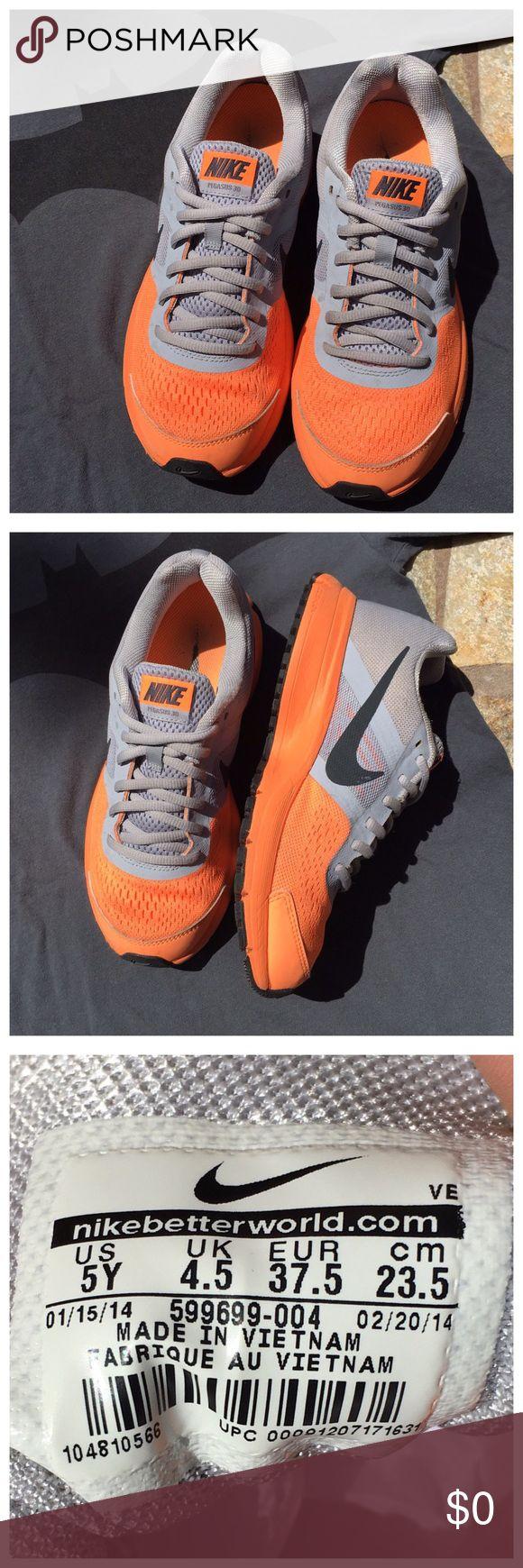 NIKE PEGASUS 30 GREY & ORANGE SNEAKERS NIKE PEGASUS 30 GREY & ORANGE SNEAKERS. Color: Grey, Orange. Size: US 5 Y. Condition: See pics. Nike Shoes Sneakers