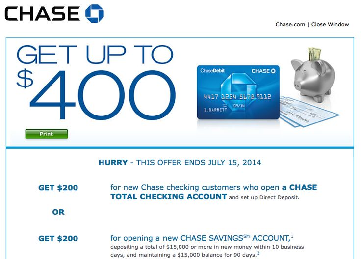 Chase Bank Deal: Up to $400 Cash Bonus for New Checking and Savings Account (June 2014) - http://www.creditvisionary.com/chase-bank-deal-up-to-400-cash-bonus-for-new-checking-and-savings-account-june-2014