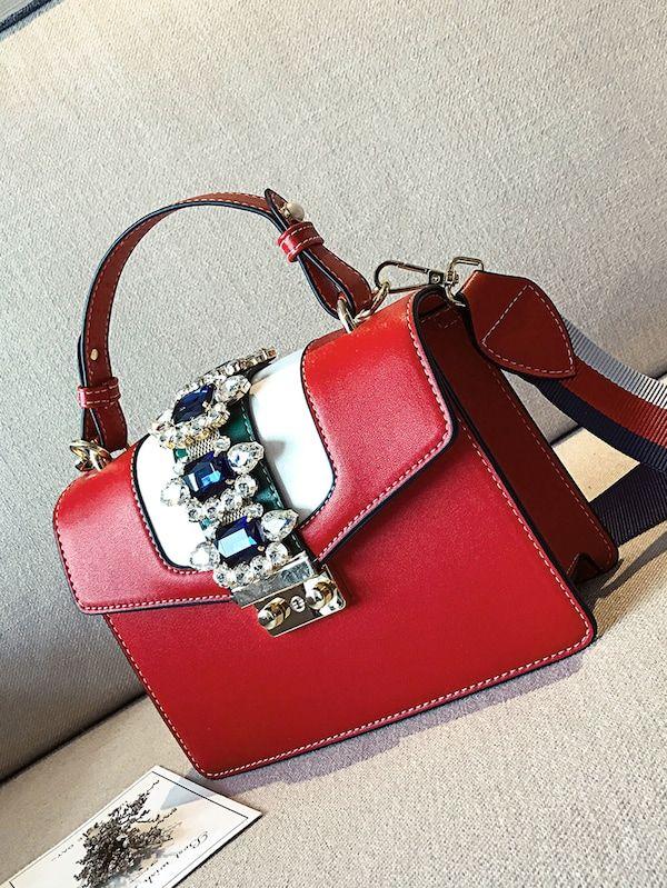 721e560f75 Rhinestone Bag With Detachable Guitar Strap -SheIn(Sheinside)   Handbags  Galore   Shoulder strap bag, Bags, Shoulder Bag