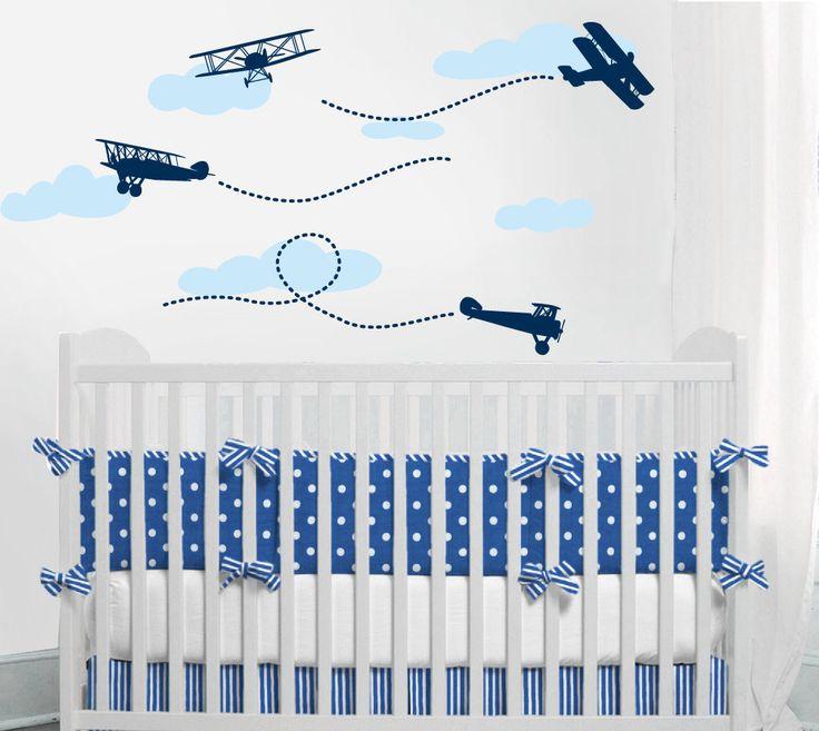 Airplane decal - Biplane wall baby boy Nursery Wall Vinyl. $30.00, via Etsy.