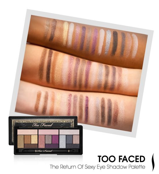 We swatched Too Faced's Return of Sexy Eye Shadow palette to see how it looked on different skin tones. #eyecandy #SephoraEyeshadows Palettes, Palettes Swatches, Toofaced Swatches Jpg, Skin Tone, Too Faced, Colors Palettes, Brand Colors, Face Swatches, Makeup Swatches