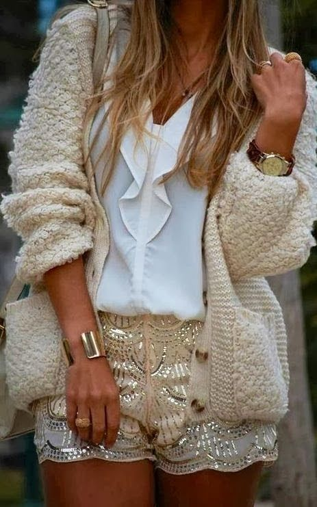 Oversized Sweater With Chiffon Top and Sequins Shorts