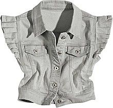 жилетка, женская, серая, джинсовая, с рукавами крылышками