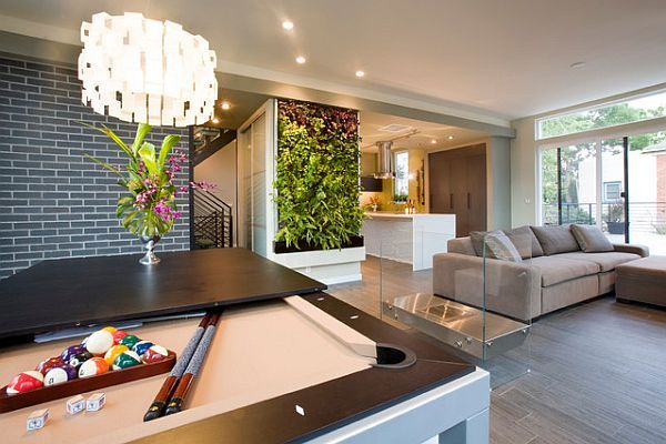 Contemporary and sustainable relaxing room with a green style