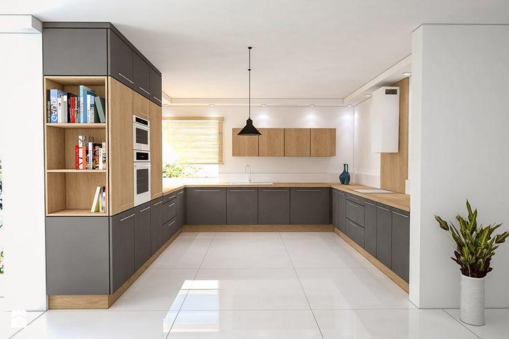 PROJEKTY KUCHNI - Duża otwarta kuchnia w kształcie litery u, styl nowoczesny - zdjęcie od iz.mac