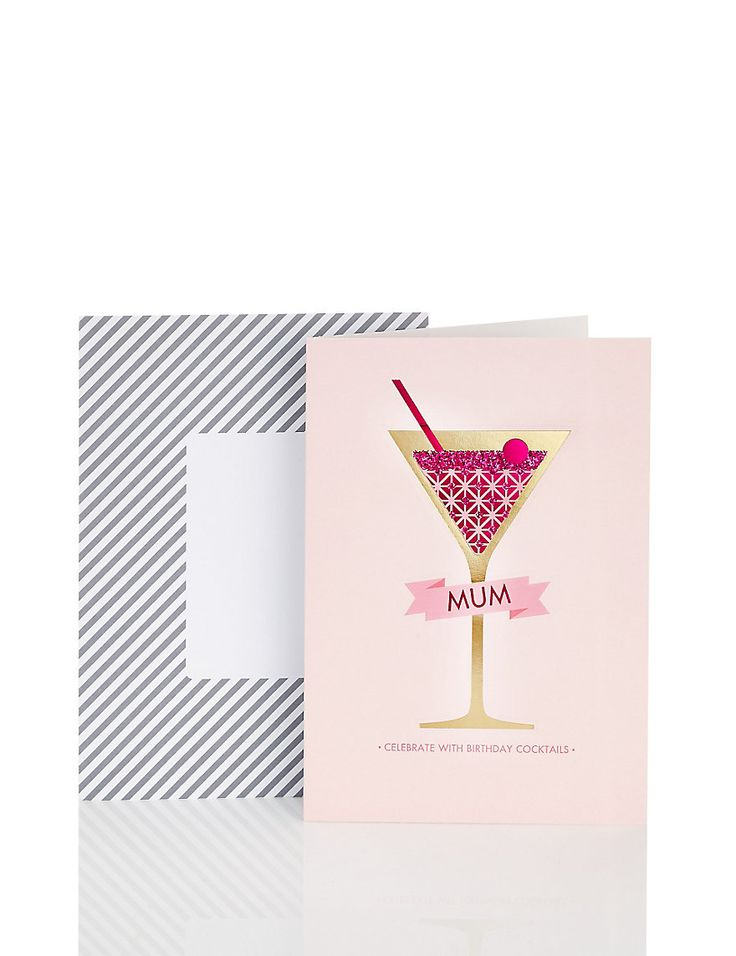 Mum pink cocktail birthday card cocktails drink for Cocktail 8 2