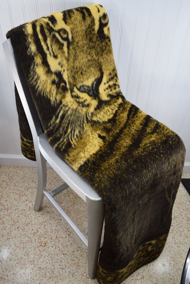 "BIEDERLACK Tiger Blanket USA Acrylic Poly Blend Shades of Brown Cream 55"" X 80"""