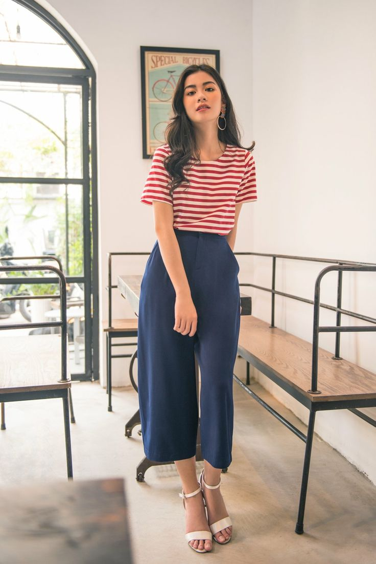red striped top and wide leg pants