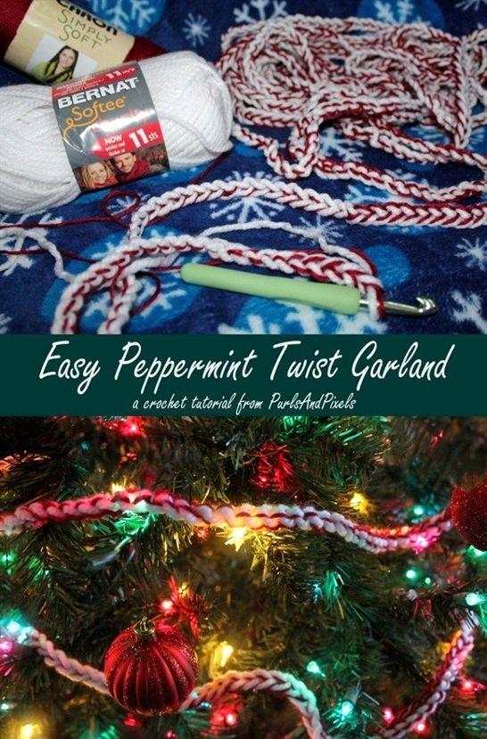 b22b41410 Beginner crochet peppermint christmas garland tutorial by Liz ...