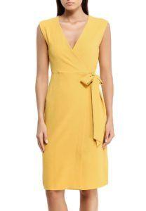 Платье с запахом горчичного цвета Dorothy Perkins