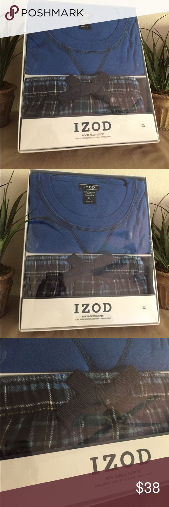 NEW IZOD Men's 2 Piece Sleep Lounge Set NEW IN BOX. IZOD sleep / lounge set. Set includes long sleeve micro fleece crew, and flannel pant. The top is royal blue, pants are a matching plaid. *hard to photograph due to reflection. Perfect Christmas gift..... very nice set.                                                                      Thanks for looking, and .... happy Poshing!! 🛍 Izod Underwear & Socks