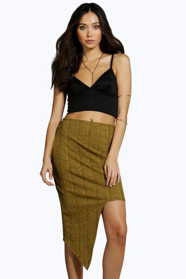 boohoo Noa Asymetric Cut Side Bandage Skirt