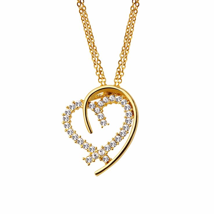 Big Promotion Women Heart Pendant  Gold Plated Slide Cute crystal Pendant Lover Gift Fashion Jewelry