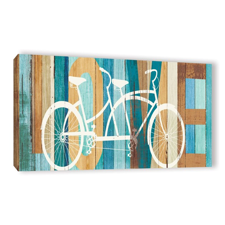 ArtWall Michael Mullan's Beachscape Tandem Bicycle Love, Gallery Wrapped Canvas