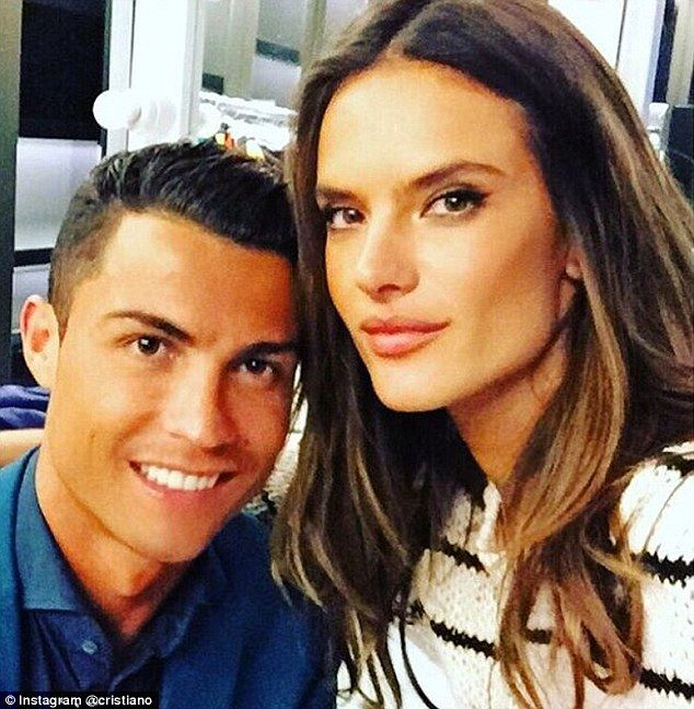 Cristiano Ronaldo poses with Alessandro Ambrosio after filming their top secret new projec...