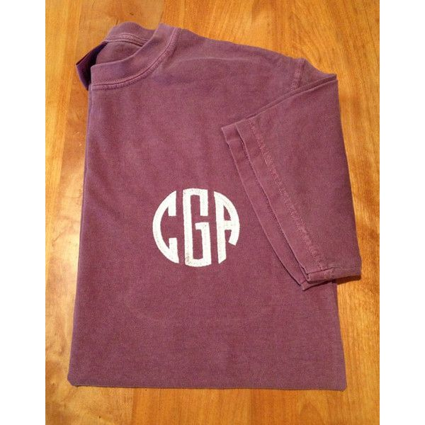 Monogrammed Comfort Colors Short Sleeve Crew Neck ($19) ❤ liked on Polyvore featuring tops, t-shirts, black, women's clothing, monogram pocket tee, t shirts, black tee, crewneck t-shirt and monogrammed shirts