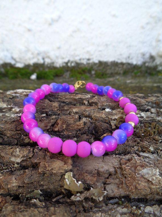 Duotone purple OOAK friendship bracelet / Bohemian bracelet / Summer bracelet/ Neon bracelet /Indian jewelry / Ethnic bracelet