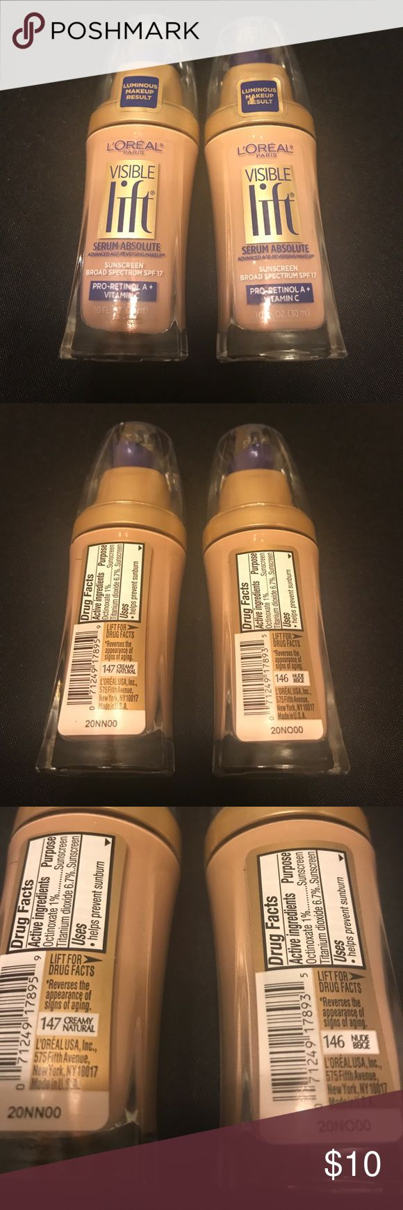 2 L'Oréal visible lift foundations. New 147 & 146 L'Oréal visible lift foundations. New 147 creamy natural and 146 nude beige. Price is for both and lowest price listed. L'Oreal Makeup Foundation