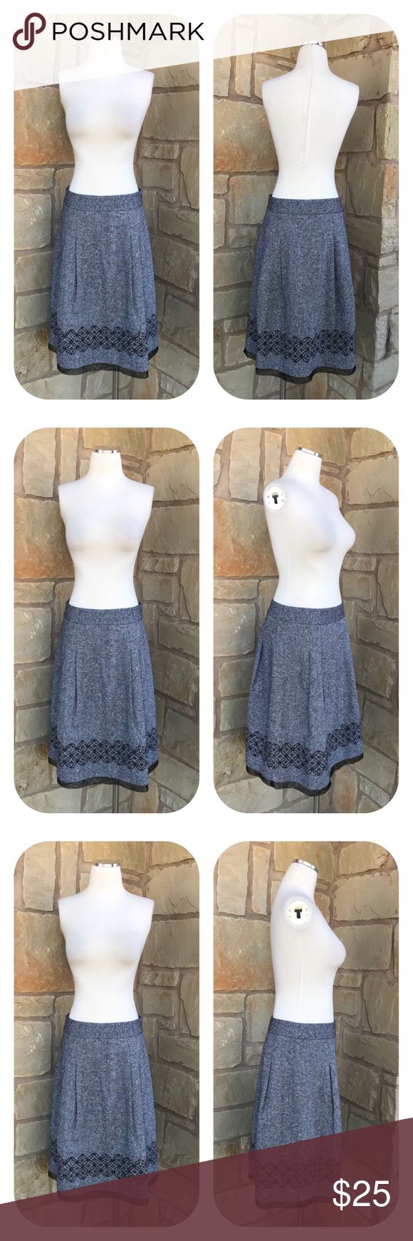 """Ann Taylor Loft Wool Blend Pleated Skirt Size 8 Ann Taylor Loft Wool Blend Pleated Skirt Size 8  -  Sequins Detail -  Fully Lined -  Hidden side zipper -  65% Wool 12% Silk 11% Rayon      11% Polyester 1% Other Fiber -  Measurements      Waist 30""""     Length 24.5""""  Thanks for visiting! 🔥🔥🔥 LOFT Skirts A-Line or Full"""