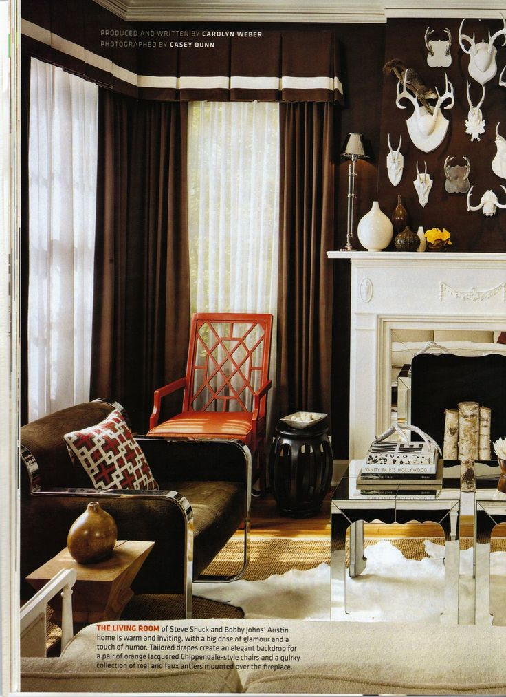 Antler ideasIdeas, Living Rooms, Antlers, Livingroom, Bathroom Wall, Chocolates Brown, Brown Wall, Bold Colors, Design Blog