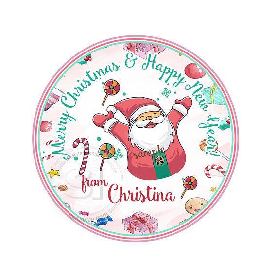 Custom Santa 2.5 Printable Tags Cute Pink Mint Santa