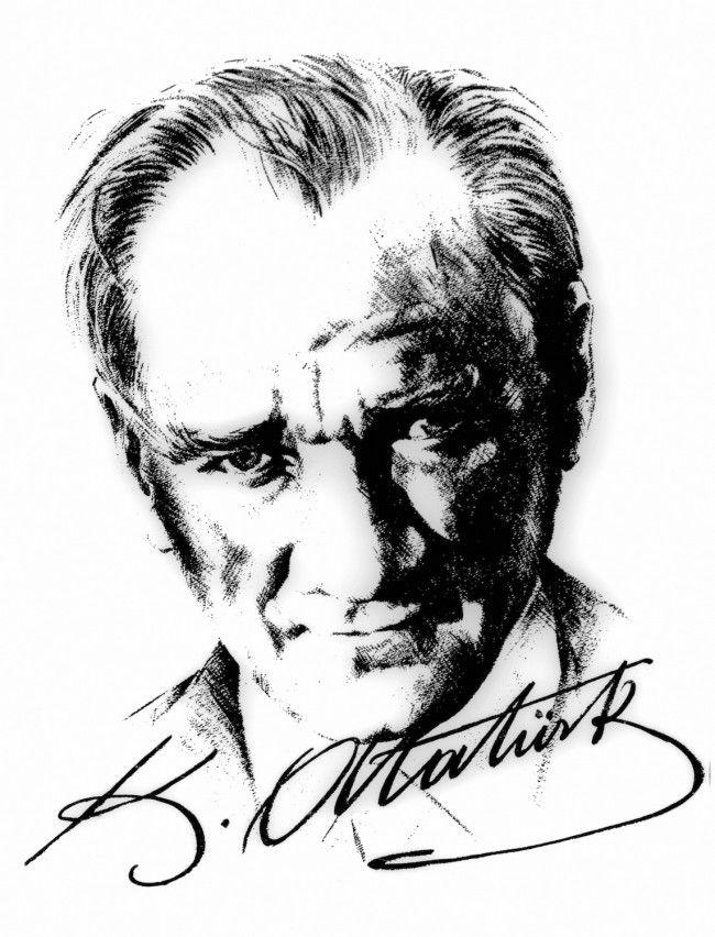 Atatürk İmzalı Portre - Üç Boyutlu Duvar Kağıtları